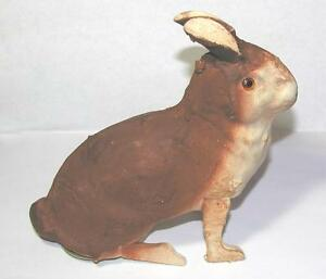 VTG 1920 GERMANY PAPER MACHE EASTER BUNNY CANDY CONTAINER, WOOD LEGS GLASS EYES