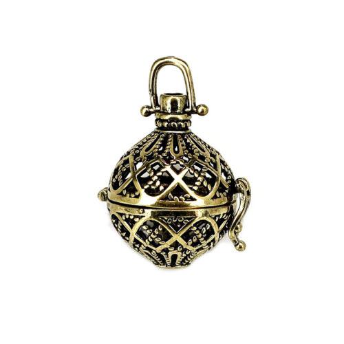 1PC Bronze Filigree Ball Flower Cross Hollow Beads Cage Locket Pendant B227