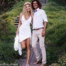 Simple Summer Beach Wedding Dress Backless Bridal Gown Custom 4 6 8 10 12 14 16+