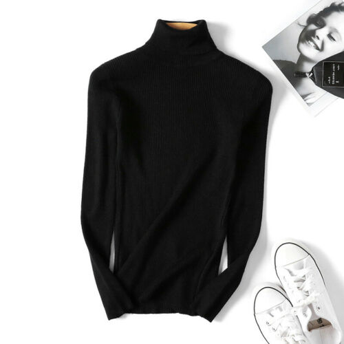 Slim Sweater Pullover Fit Winter Warm Womens Sleeve Long Turtleneck Top Knitted