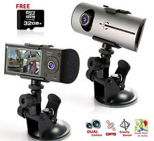 HD Car DVR DualCam (Front+Rear) Driving Recorder Dash Cam GPS Support FREE 32GB!