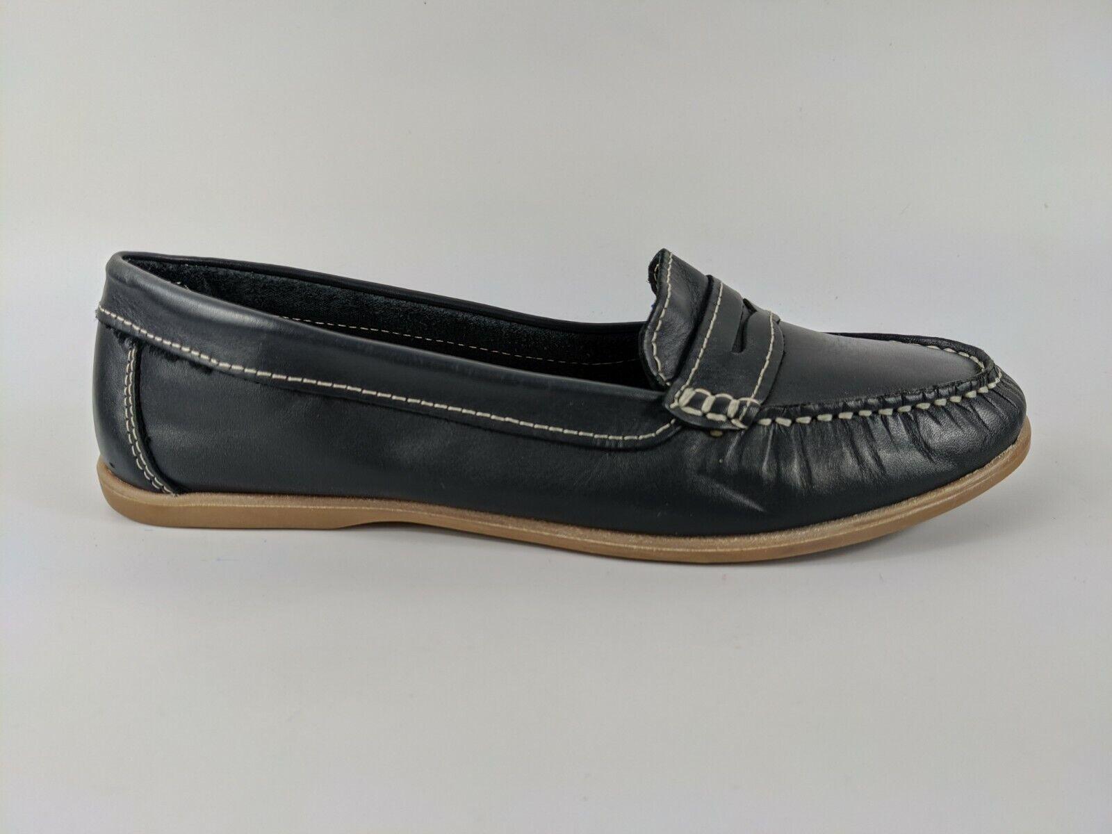 O.E Navy Leather Mocassin Slip On Shoes Uk 4 Eu 37 New