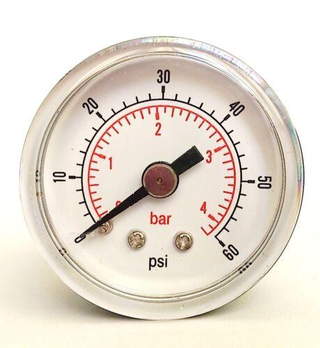 NUOVO IN SCATOLA MANOMETRO 40 mm 1//8 BSPT Posteriore Indietro 15,30,60.100,160,300 PSI BAR