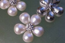 Silver Metal Rhinestone and Pearl Buttons 10 Pieces 23 MM Bridal Embellishment