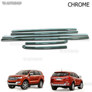 Line Window Sill Chrome 4 Door Cover Trim For Ford Everest Suv 2.2 3.2 2016 17