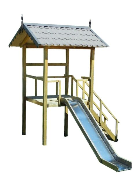 Playhouse Slide Plans Diy Children Outdoor Playset Kids Wood Shelter Playground