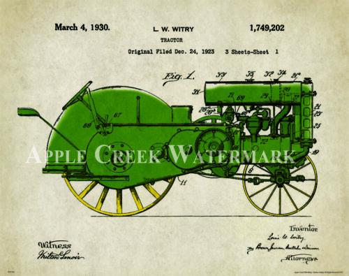 John Deere Tractor Patent Poster Art Print Vintage Toys Charles Freitag PAT324