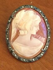 Vintage Antique SHELL CAMEO  BROOCH PENDANT Silver Metal Frame Marcasite