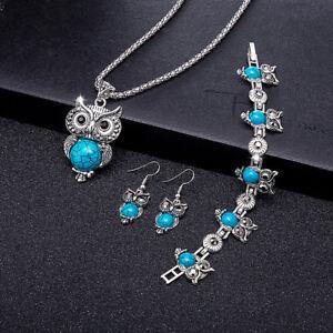 Retro Blue Turquoise Owl Pendant Necklace Earrings Bracelet Set
