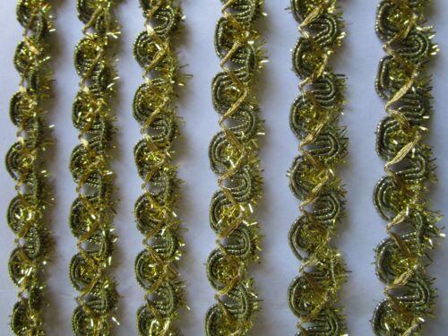 2 Meter  Spitze Nichtelastisch  Gold  1,2 cm breit Borte # BB 643
