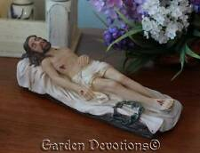 """8"""" CRUCIFIED SAVIOUR JESUS CHRIST EASTER STATUE Lying Down Wounds PASSION WEEK"""
