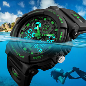 SKMEI-Men-039-s-Waterproof-Sport-Army-Alarm-Date-Analog-Digital-Black-Wrist-Watch