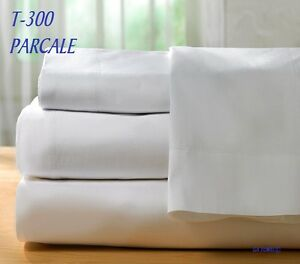 1  new white queen flat sheet 90x110 bright white 300T hotel parcale resort