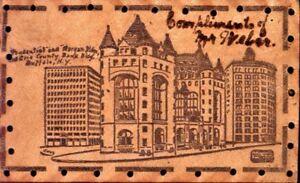 BUFFALO-NEW-YORK-PRUDENTIAL-amp-MORGAN-amp-ERIE-BANK-BLDGS-LEATHER-POSTCARD-1900s