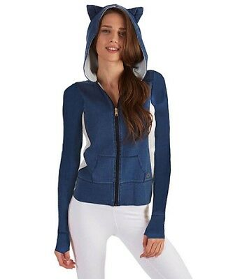 Size 10 Active Top Ladies Cotton Denim Blue French Terry Hoodie