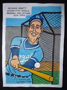 Original-Cuban-Drawing-GEORGE-BRETT-Baseball-Hall-of-Fame-KANSAS-CITY-ROYALS