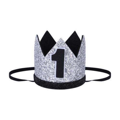 Kids Girl Boy 1st Birthday Sequins Crown Tail Headband Cake Smash Photo Prop Set