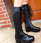 thumbnail 3 - Women's Round Toe Gladiator Block High Heels Platform Shoes Lace-up Calf Boots
