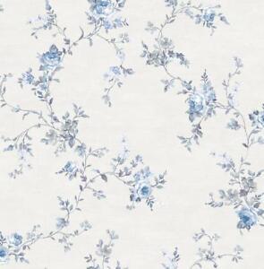 Wallpaper-Designer-Blue-and-Gray-Floral-Rose-Vine-on-Eggshell-White