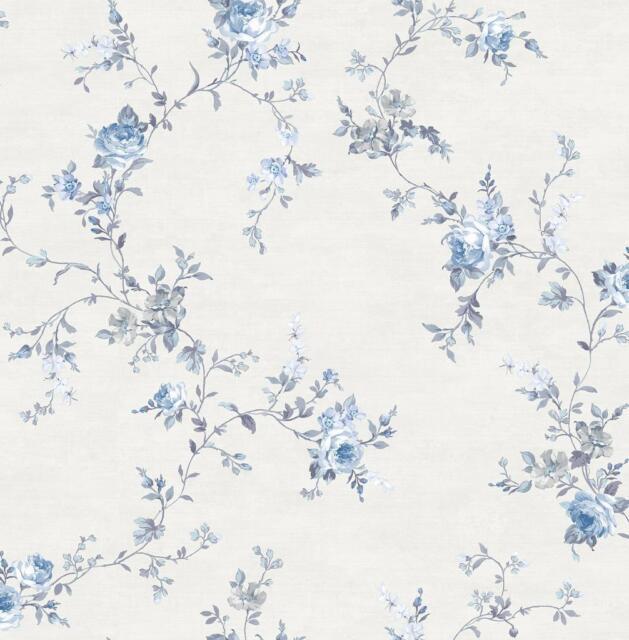 Wallpaper Designer Blue And Gray Floral Rose Vine On Eggshell