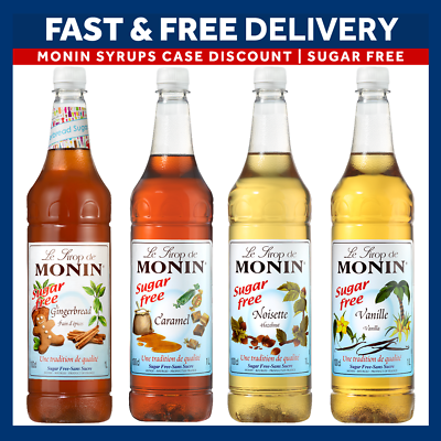 Monin Coffee Sugar Free Syrups Full Case 4 X 1 Litre Bottles As Used By Costa Ebay