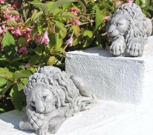 Image Is Loading Pair Of Stone Lion Statues Chatsworth Lion Garden
