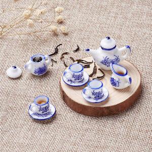 1 Set MINIATURE Vintage Porcelain Tea Set Blue Dolls House Tea Set Child's Toys