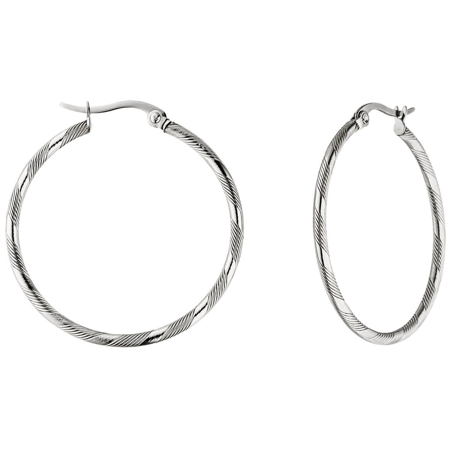 special offer Pair Hoop Earrings 35,1mm with Pattern Made