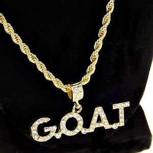 Mens-G-O-A-T-Rope-Chain-Bling-Goat-Pendant-Gold-Finish-Hip-Hop-Necklace-24-034-In