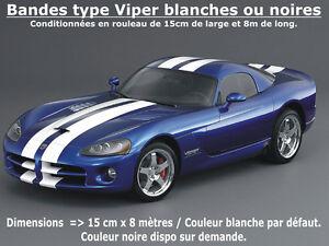 Stickers-BANDES-type-VIPER-Blanches-ou-Noires-15cm-x-800cm-2-x-400cm