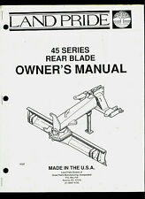 Land Pride 45 Series Rear Blade Illustrated Parts List Amp Owners Manual