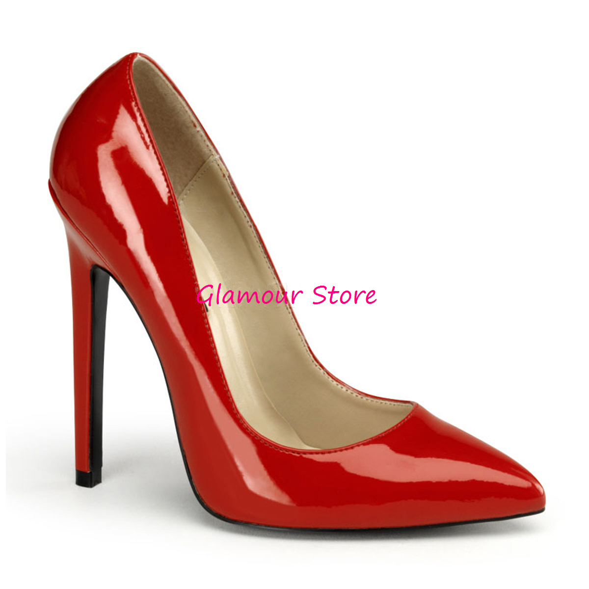 Sexy DECOLTE' a punta tacco 13 red lucido dal 35 al 44 shoes fashion GLAMOUR