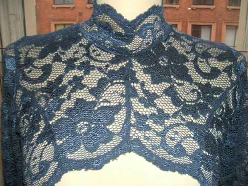 Baylis /& Knight bleu marine dentelle frontale complète col haut col bolero cardigan de hausser