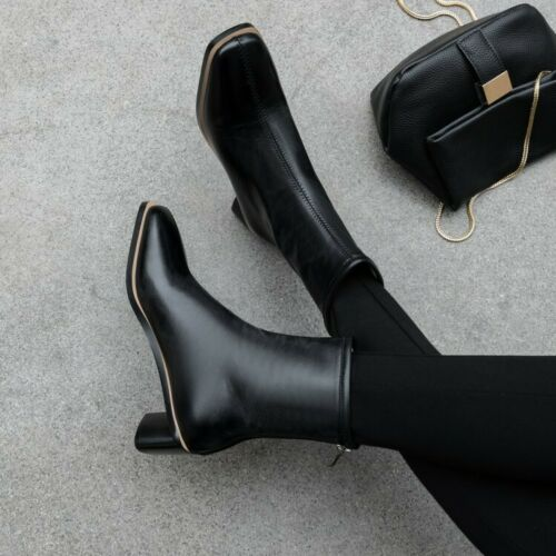 Women/'s Square Toe Patent Leather Ankle Boots Block Heels Back Zip Chelsea Boots