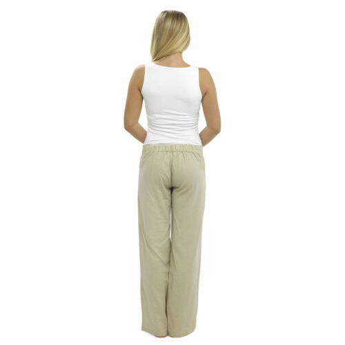 Femme casual lin pantalon plein /& 3//4 longueur pantalon pantalon confortable