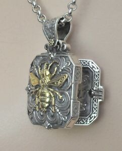 Konstantino-Bee-Nectar-Locket-Pendant-Necklace-Sterling-18K-Gold-Penelope-New