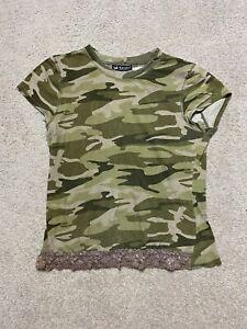 Women's Self Esteem Green Camouflage Short Sleeve T-shirt Size M/L