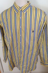 Polo-Ralph-Lauren-Men-L-S-Shirt-Yellow-Blue-Vertical-Stripe-3XLT-3X-Tall-Classic