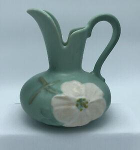 Antique Weller Dogwood Pitcher Vase Deco Green Artist Signed  W32