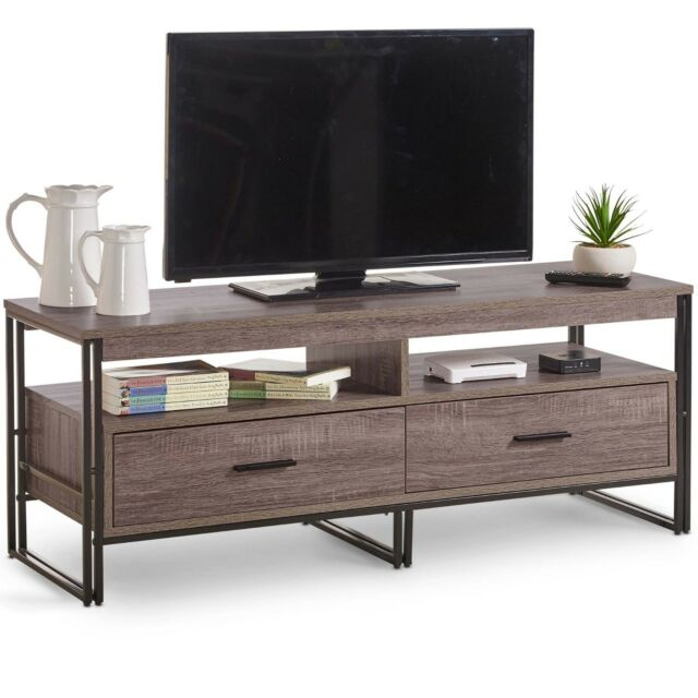 best sneakers d540d dd9bb VonHaus Rustic TV Unit 120cm Cabinet With 2 Drawers - Modern Industrial  Design