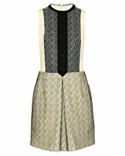 Cream Contrast Fr40 New Black Dress Lace Rrp Carven £535 x1EqqPwTC