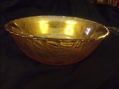 "VINTAGE CARNIVAL GLASS BOWL - GOLD W/PRETTY HUES - WOVEN PATTERN - 9"" - LQQK!"