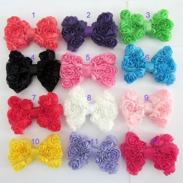 "12x 3"" Girls Baby Lace Rose Flower Hair Bow Elastic Headband Head Bands 12 Color"