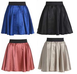 Ladies-Womens-Fashion-Shiny-Satin-Elasticated-Waist-Mini-Skirt-UK-Size-8-14