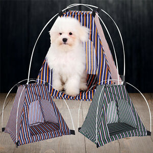 Navy Striped Pet Kennel Teepee Tent Cat Dog Bed Puppy Kitten House Playing Pad