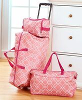 Pink Trellis 3 Pc Luggage Travel Set Rolling Duffel Tote Toiletry/cosmetic Bag