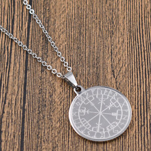 Stainless-Steel-Viking-Compass-Necklace-Silver-Chain-Charms-Gothic-Men-Jewelry