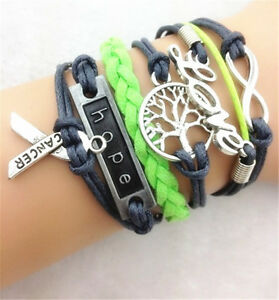 Retro-Infinity-Love-Lucky-Tree-Leather-Charm-Bracelet-plated-Silver-Jewelry-gift