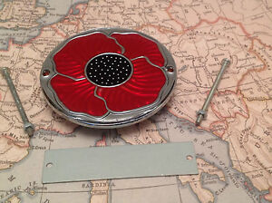 Red Enamelled Poppy Grille Car Badge with Grille Fixings British Legion 2