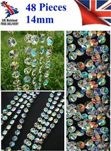 48 CHANDELIER LIGHT AB CRYSTALS DROPLETS GLASS BEAD WEDDING DROPS 14MM PRISM  5010317760905